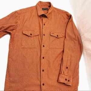 Orange Tan Flannel Shirt Orvis Large